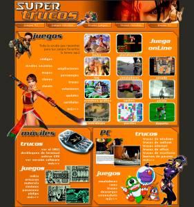 Web de juegos Supertrucos. Año 2003