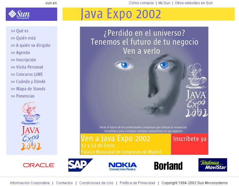 Web para Sun. Año 2002